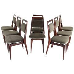 Italian Velvet Dining Chairs, Set of Six, 1950's