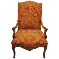 Vintage Hand-Carved French Chair, Newly Upholstered