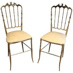 Pair of French Napoleon III  Style Brass Chairs