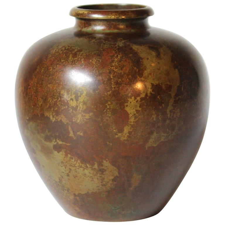 Vintage Japanese Bronze Vase With Warm Variegated Patina