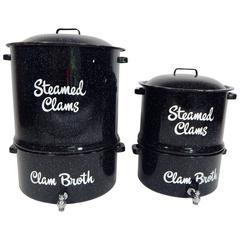 Pair of Black Enamel Vintage Clam Steamer Pots