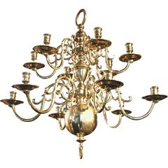 Brass Chandelier After a 17th Century Flemish Design