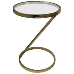 Modern Round Brass and Glass Side or Drinks Table