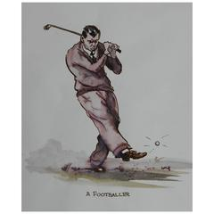 Original Painting Caricature of a Golfer by Peter Hobbs the Footballer Golf