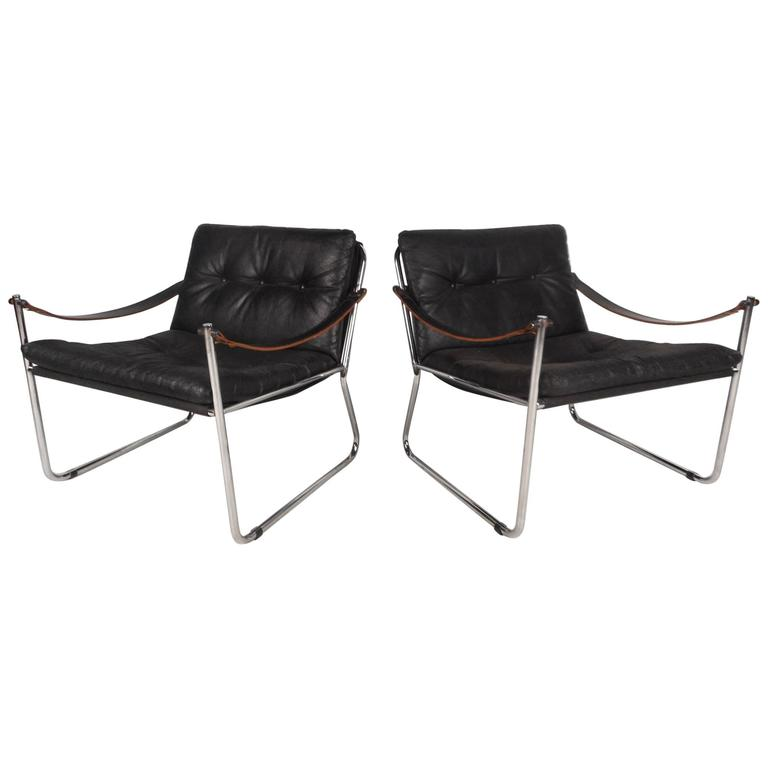 Unique Mid-Century Modern Safari Style Lounge Chairs with Leather Arm Rests