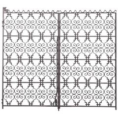 Pair of French Patinated Wrought-Iron Grids