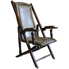 1940s Campaign Style Adjustable Leather and Walnut Armchair