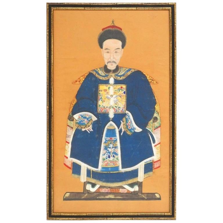 Chinese Qing Dynasty Ancestral Portrait For Sale
