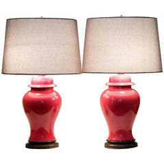 Pair of Vintage Chinese Porcelain Famille Rose Pink Monochrome Lamps