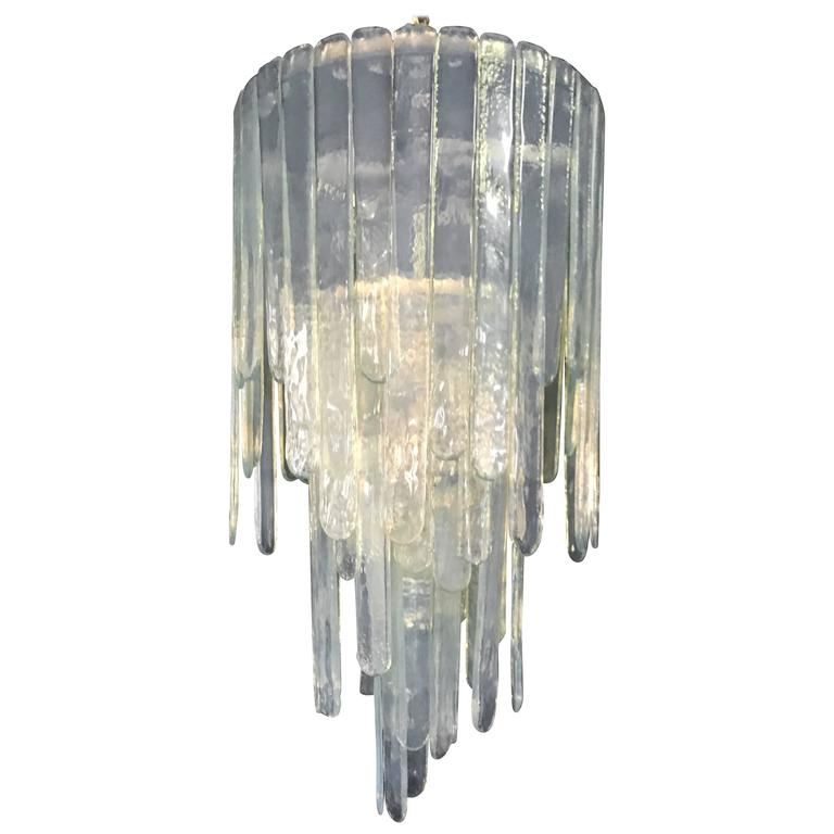 "Large ""Cascade"" Mazzega Chandelier by Carlo Nason in Opalescent Murano Glass 1"