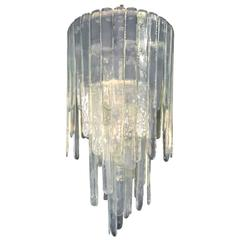 "Large ""Cascade"" Mazzega Chandelier by Carlo Nason in Opalescent Murano Glass"