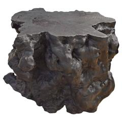Triple Burnt Teak Wood Pedestal-Console