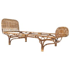 "Franco Albini Italian Ratan and Rush Mid-Century Bed Model ""677"" by Bonacina"