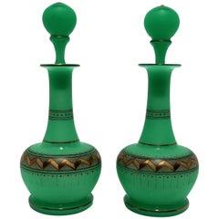 Pair Italian Emerald Green Opaline Glass & Gold Chevron Perfume Vantiy Bottles