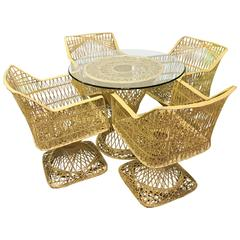 Russell Woodard Spun Fiber Glass Indoor or Outdoor Table with Four Chairs