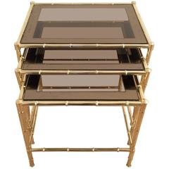 Set of Three Faux-Bamboo Brass Nesting Tables in the Style of Jacques Adnet