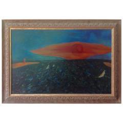 "Large Signed David Atkins Surreal Oil on Canvas New York Artist Title ""Sunset"""