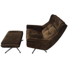 Danish Brown Suede Lounge Chair and Ottoman