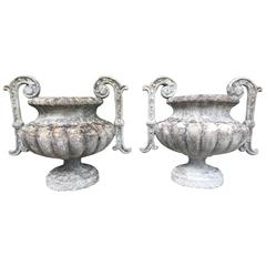 Pair of French Cast Stone Handled Urn Finials