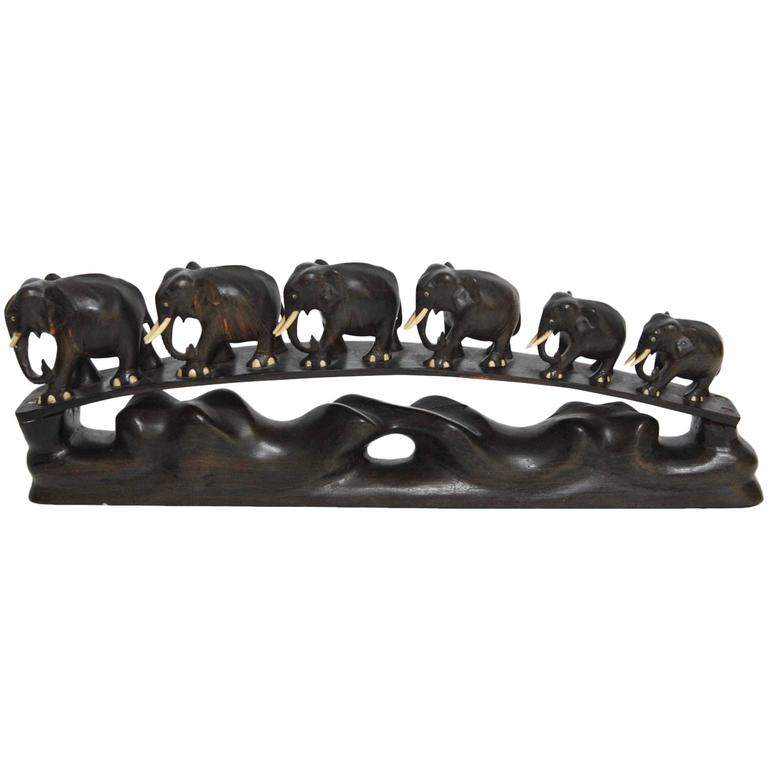 Anglo-Indian Carved Teak Elephant Bridge