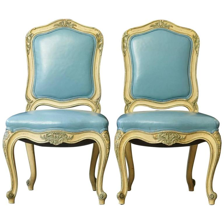 Pair of French Louis XV Style Side Chairs Upholstered in Powder Blue Leather 1