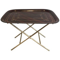 French Brass Tray Table with a Lacquer and Gold Metal Top