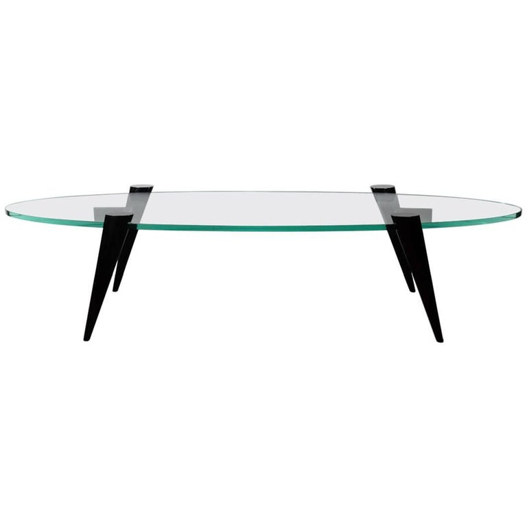 Mid-Century Modern Narrow Elliptic Coffee Table with Tapered Legs For Sale