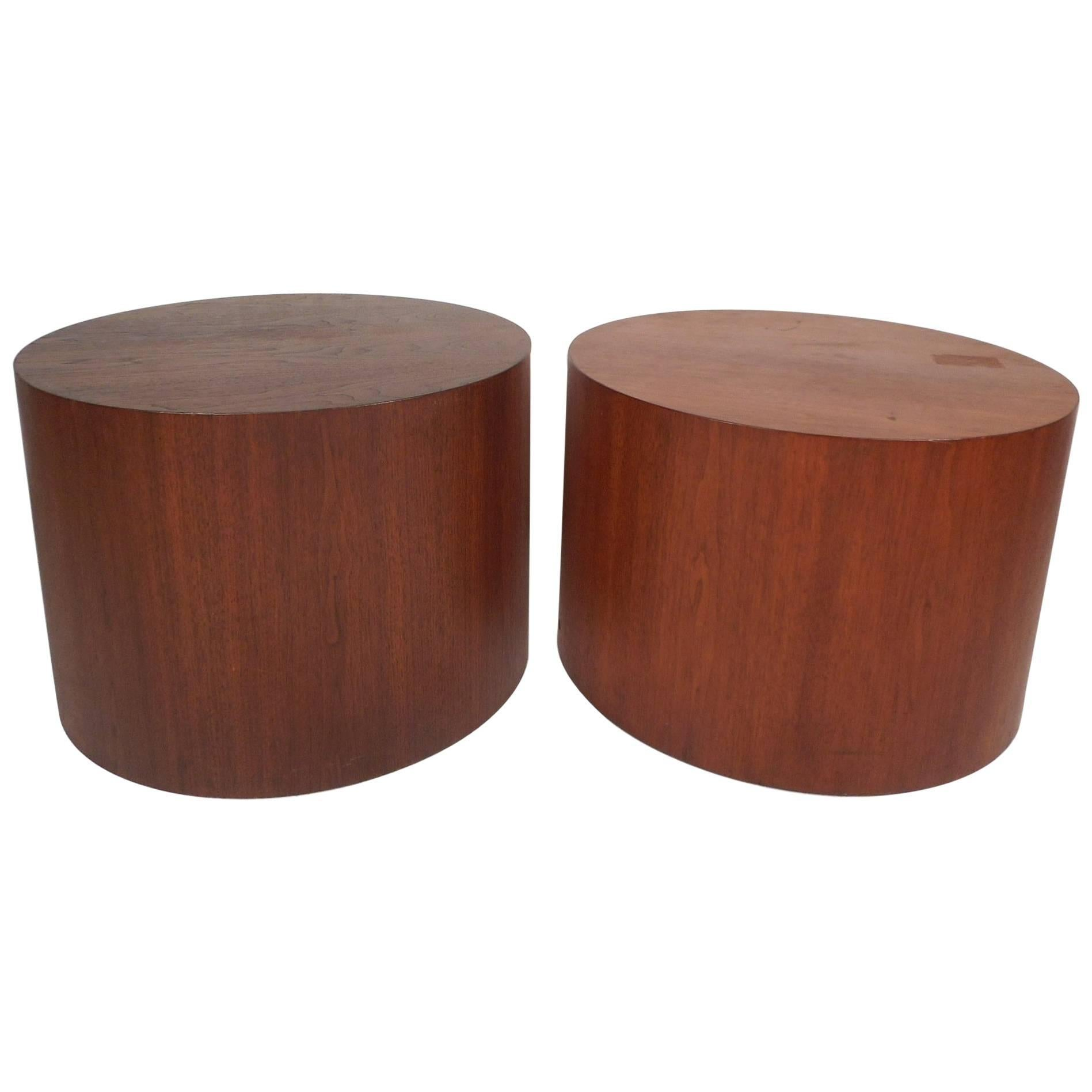 Unique Mid-Century Modern Round Walnut End Tables