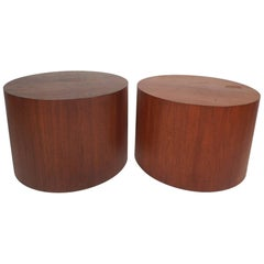 Unique Mid-Century Modern Round Walnut End Tables