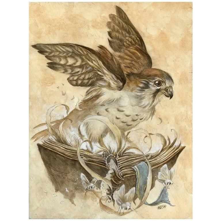 Kestrel Roost, a Graphite, Watercolor, and Gouche Painting by Jeremy Hush For Sale