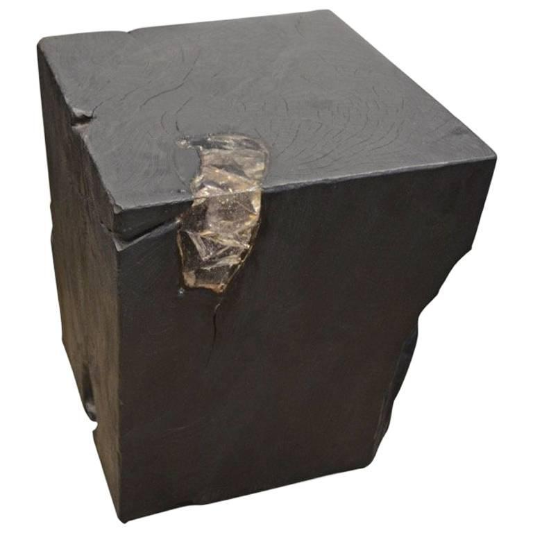 Andrianna Shamaris Triple Burnt Teak Wood and Resin Side Table