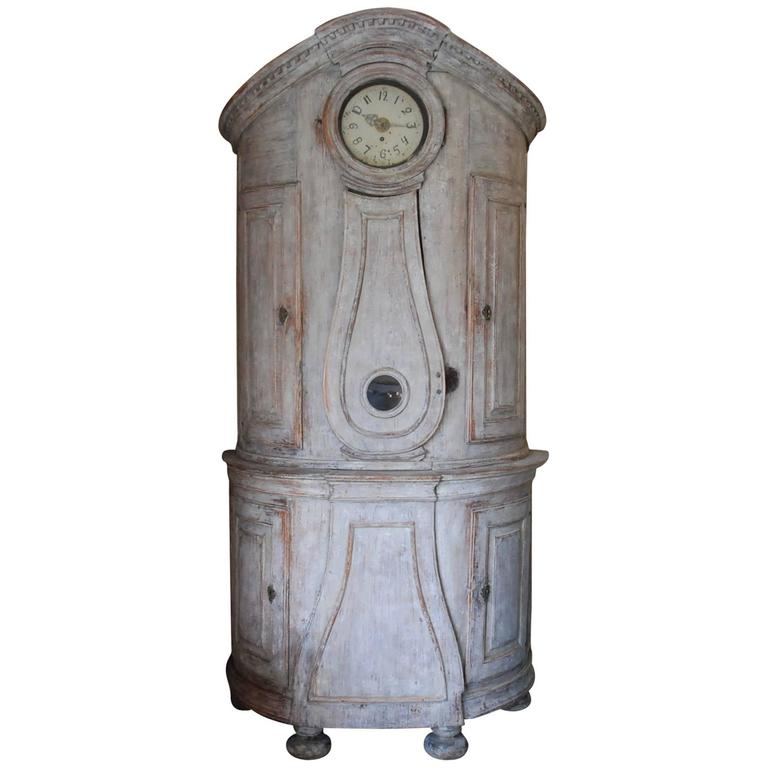 18th Century Swedish Demi lune Clock Cupboard