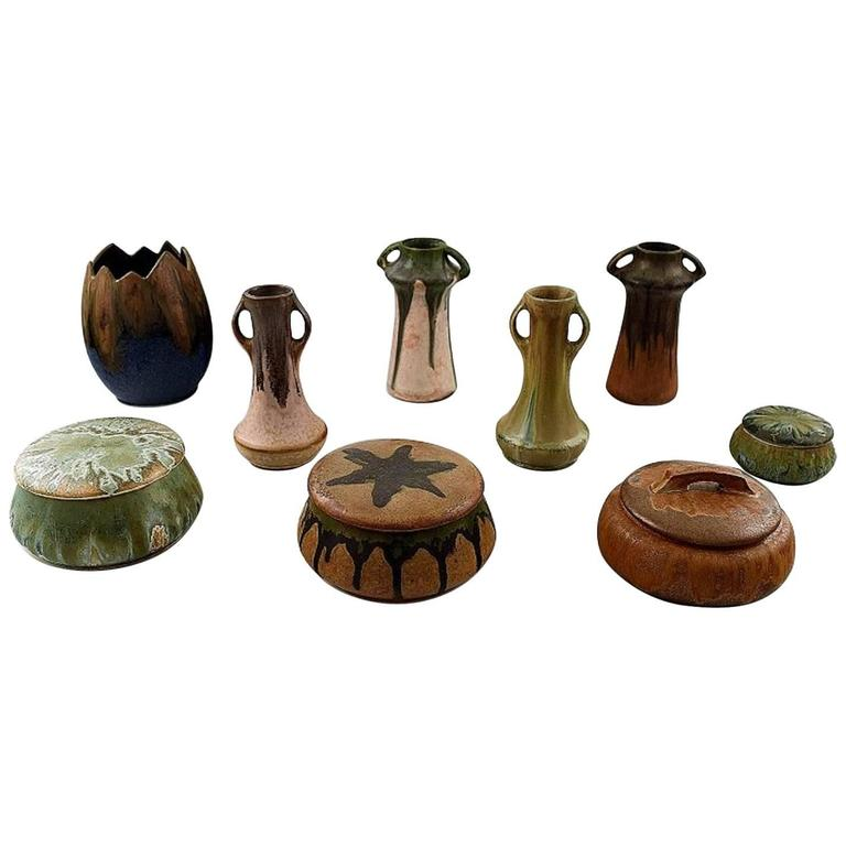 Collection of French Art Pottery Vases, Lidded Boxes, Denbac