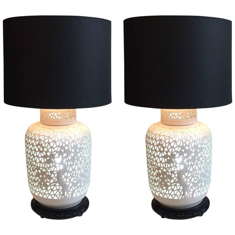 Pair of Blanc De Chine Piercework Lamps 1