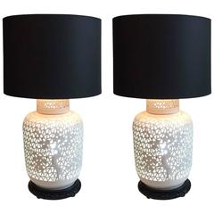 Pair of Blanc De Chine Piercework Lamps