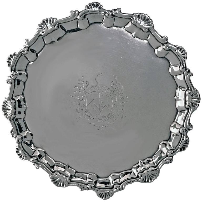 George 11 Georgian Silver Salver, London 1757, William & Robert Peaston