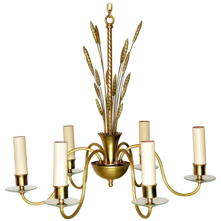 Mid Century Modern Brass And Glass Chandelier For