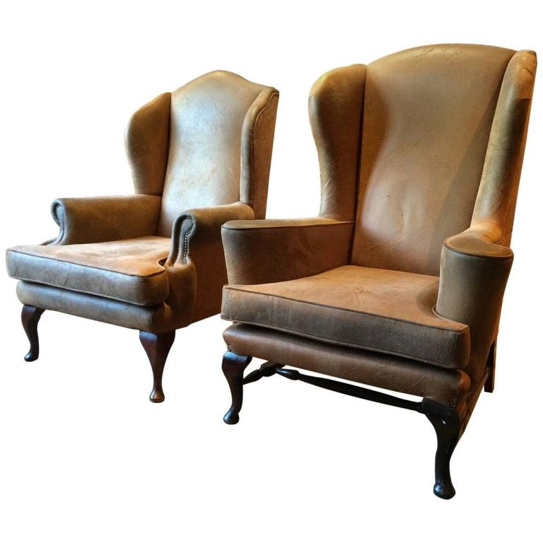 Georgian Style Wing Back Armchairs Leather Pair Of His N