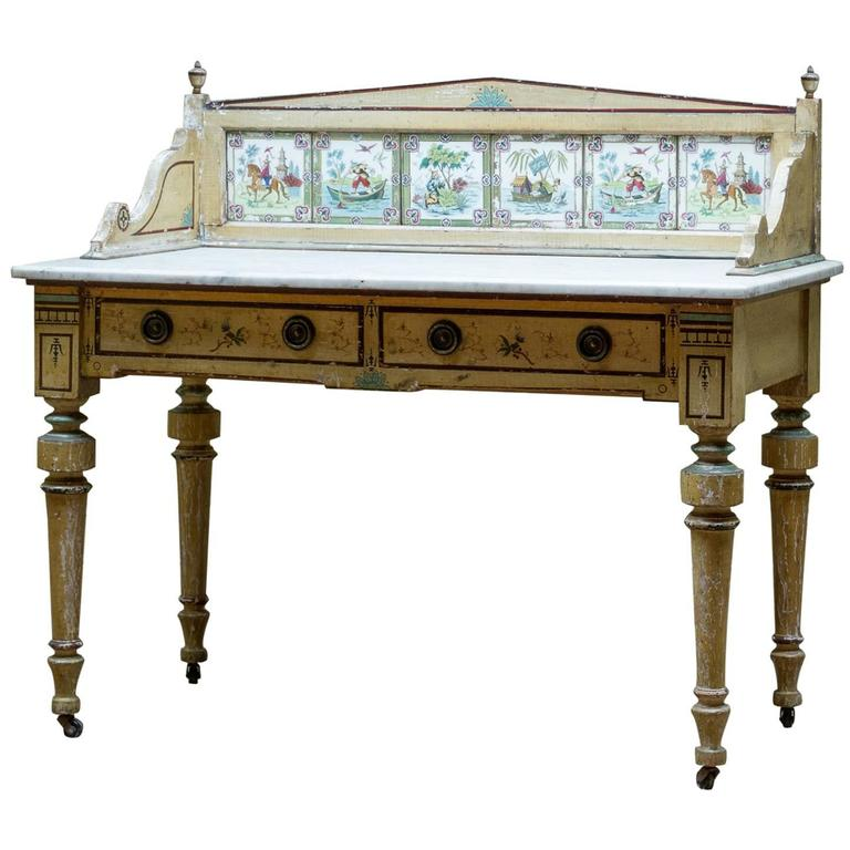 19th Century English Painted Marble-Top Side Table