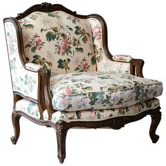 Wide Frame Louis XV Style Bergère with Floral Upholstery
