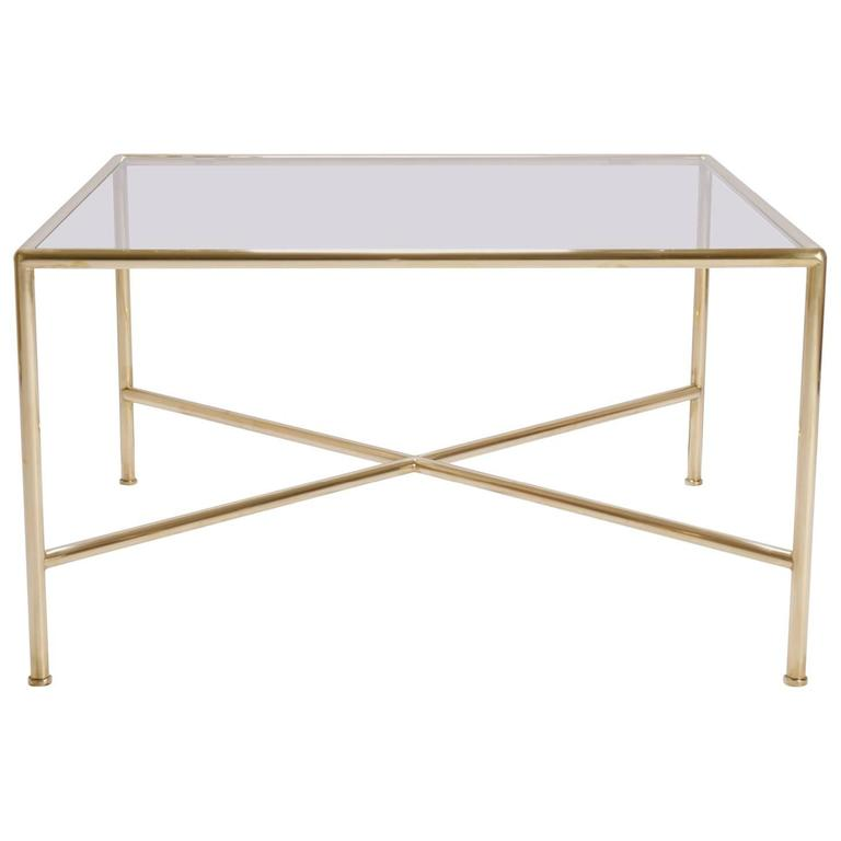Brass And Glass Tubular Square Cocktail Table For Sale At