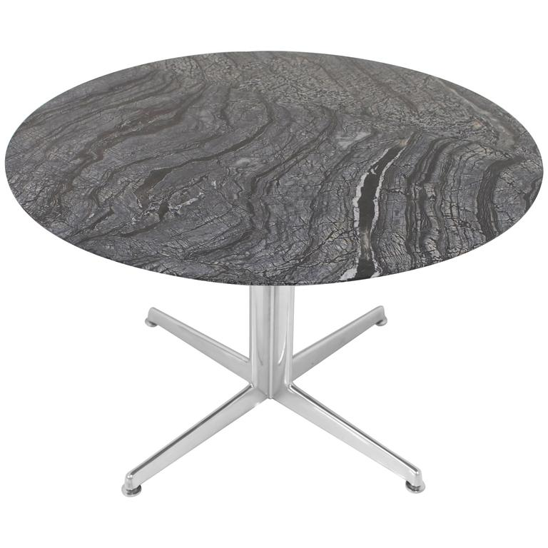Round Marble and Polished Aluminium Table at 1stdibs : 7595983l from www.1stdibs.com size 768 x 768 jpeg 49kB