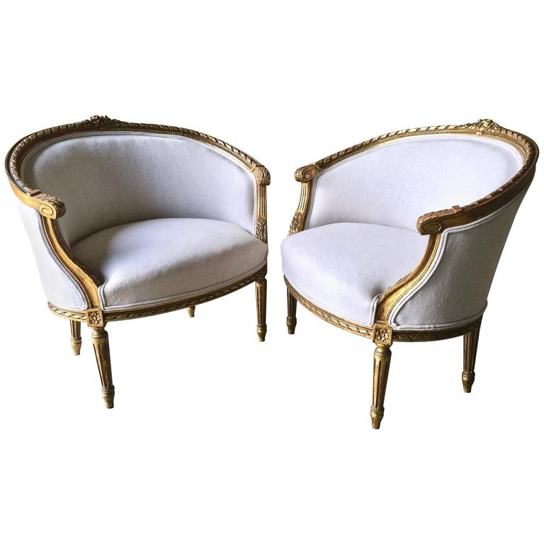 Pair of 19th Century French Louis XVI Style Giltwood Bergères 1