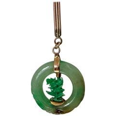 Jadeite Jade Circle Pendant in 14-carat