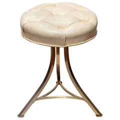 Tufted Leather and Bronze Stool