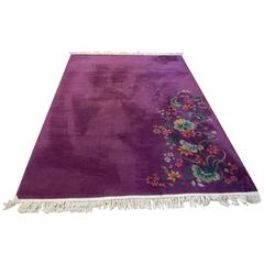 20th Century Art Deco Chinese Rug with Rich Color and Floral Design