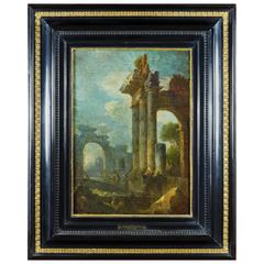 Accomplished 18th Century Roman School Grand Tour Architectural Ruins Painting