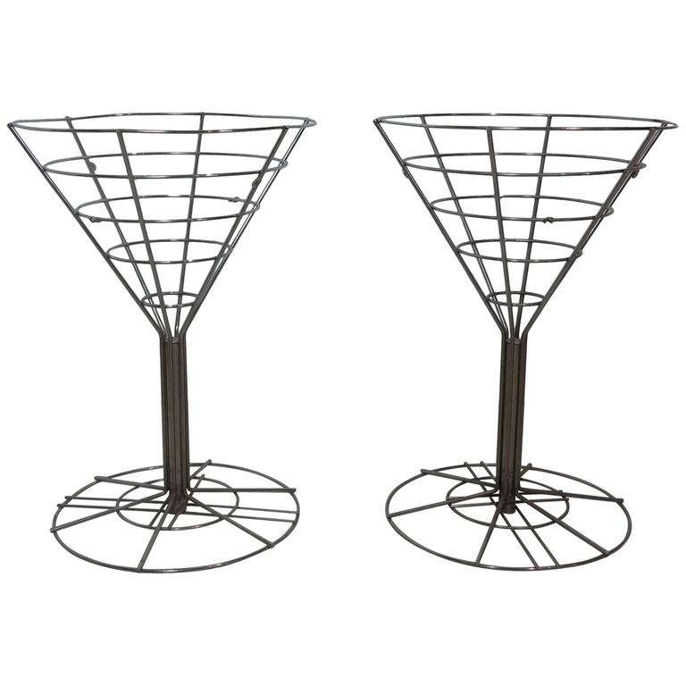 Op Art Chrome Wire Side Tables Glass Tops