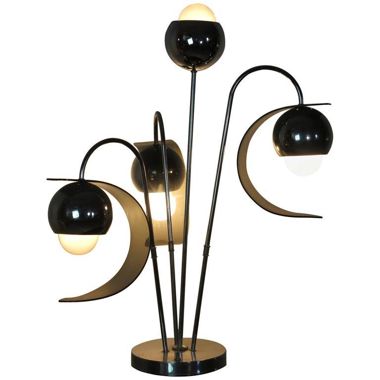 Vintage Lucite and Chrome Four-Light Eyeball Table Lamp