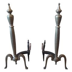Pair of Brass 1930s Federal Style Andirons